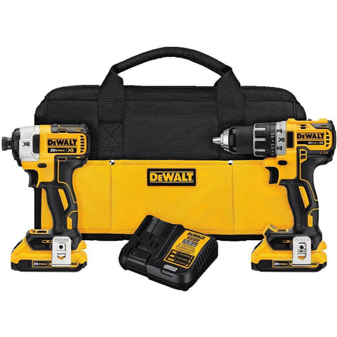 DEWALT DCK283D2 MAX XR Lithium Ion Brushless Compact Drill/Driver & Impact Driver Combo Kit, 20V