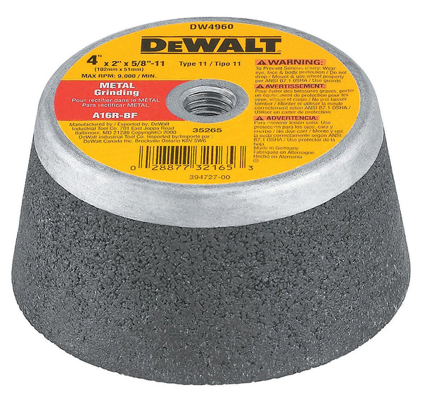 DEWALT DW4960 4-Inch by 2-Inch by 5/8-Inch-11 Metal Grinding Steel Backed Cup Wheel