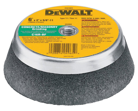 DEWALT DW4965 6-Inch by 2-Inch by 5/8-Inch-11 Concrete/Masonry Grinding Steel Backed Cup Wheel