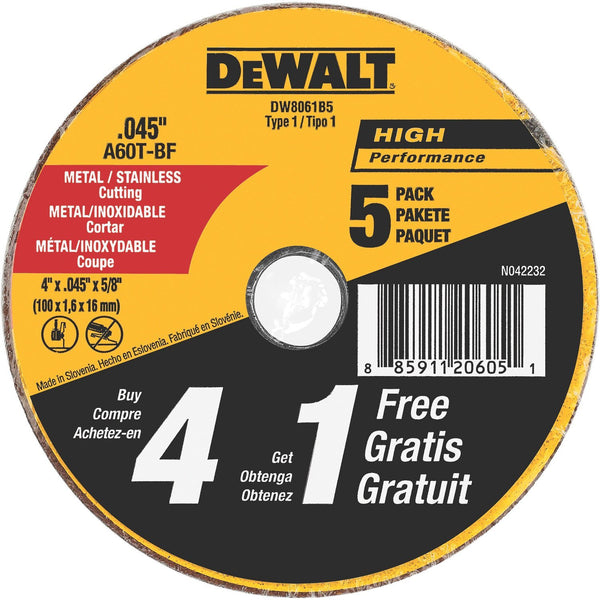 "Dewalt DW8061B5 4 x 0.045"" Metal and SS Cutting Wheels , 4 Inch by 0.045-Inch (5-pack)"