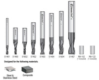 Amana AMS-152 8-Pc Set, Solid Carbide Spiral, AlTiN Coated, CNC End Mill / Router Bit Collection for Stainless Steel, Steel & Composite Materials