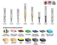 Amana AMS-135 8-Pc Specialty Aluminum, Plastics & Stainless Steel Cutting CNC Router Bit Collection, 1/4 Inch Shank