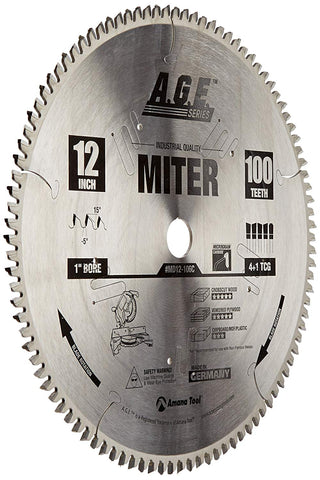 Amana Tool MD12-106 Heavy Duty Miter Saw Blade 12 Inch, 100 Teeth, 1 Inch Bore