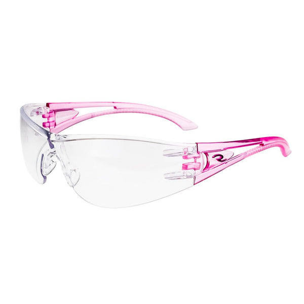 Radians Optima OP6710ID Safety Glass Pink Temples Clear Lens