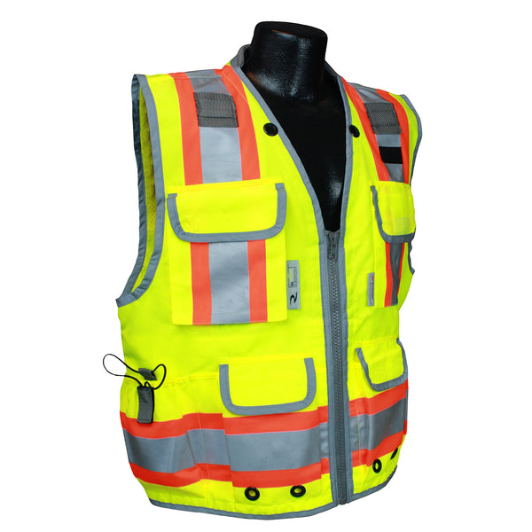 Radians SV55-2ZGD Class 2 Heavy Woven Two Tone Engineer Safety Vest, Hi Viz Green