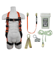 Safewaze FS120-E-1118DC - Fall Protection Roofer's Kit with Dual Cam Rope Grab in a Bucket
