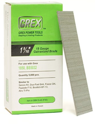 GREX GBN18-40 (F40) 1-9/16 Inch Length 18 Gauge Galvanized Brad Nails
