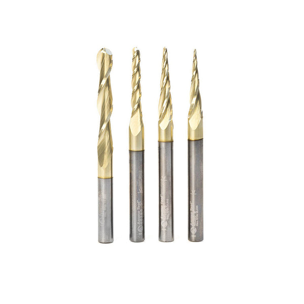 Amana AMS-148 4-Pc Solid Carbide Up-Cut Spiral 2D/3D Carving Ball Nose ZrN Coated CNC Router Bit Set, 1/4 Inch Shank