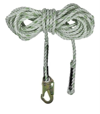 "SafeWaze FS700-25 5/8"" Polyester, 3-Strand Twisted Rope Lifeline / 25'"