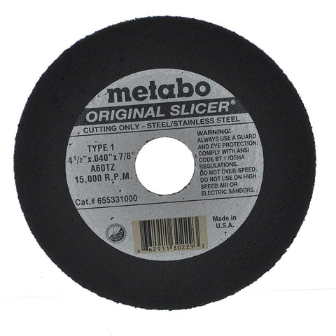 "Metabo 655331000 Original Slicer, 4-1/2"" x .040"" x 7/8"", Type 1, A60TZ, 100-Pack"