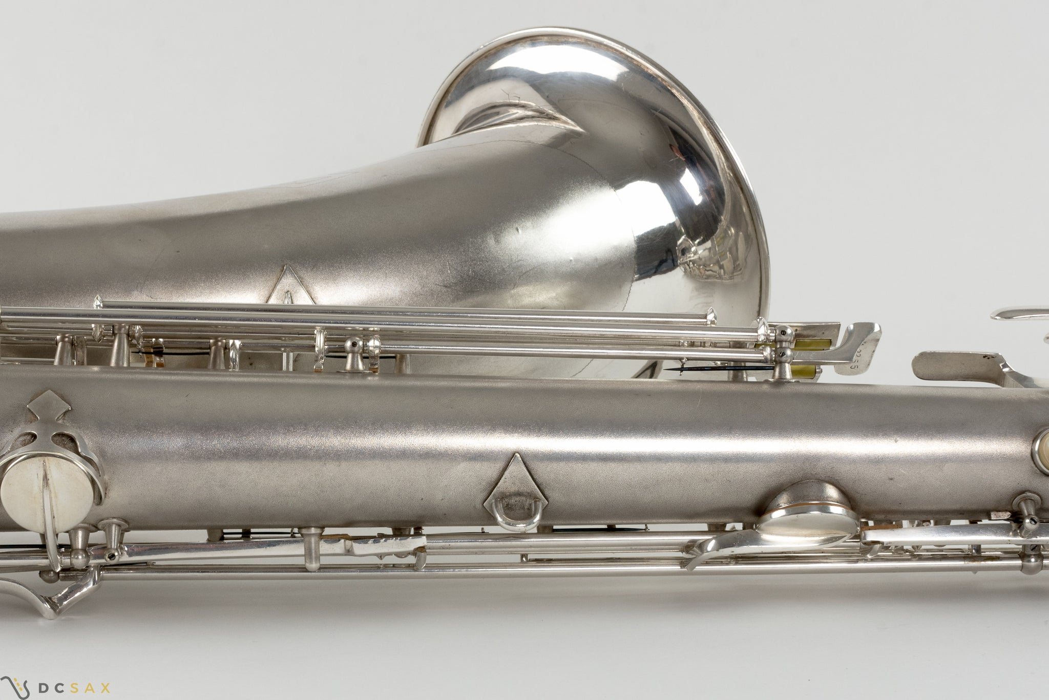 1945 Conn 12M Baritone Saxophone, Silver, Rolled Tone Holes, Overhaul