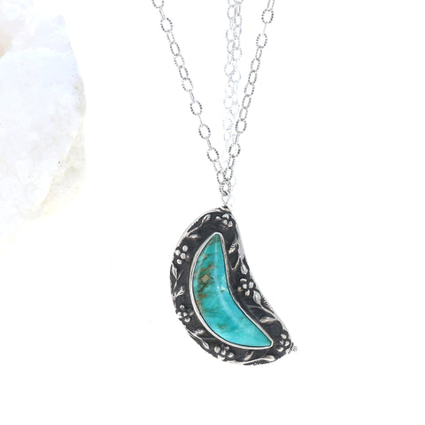 Kingman Sterling Moon Crescent Pendant Necklace Adjustable