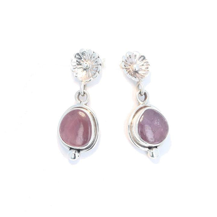 Pink SAPPHIRE STERLING SILVER Earrings Flower Post Style