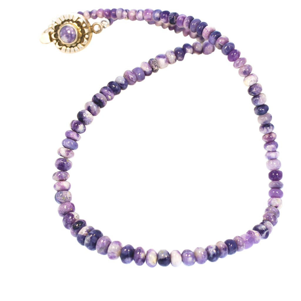 "Lavender Mexican Opal Necklace 18.5"" Sterling Silver"