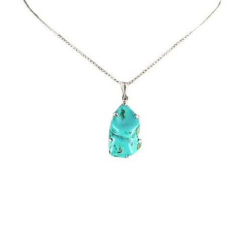 Sculptural Gem Silica Pendant Sterling Silver Necklace 18""