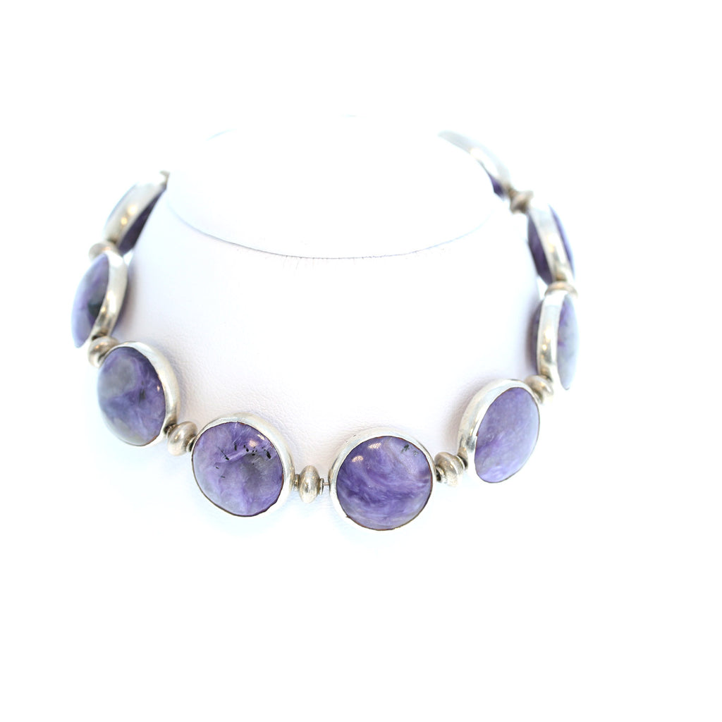 CHAROITE and STERLING SILVER BRACELET