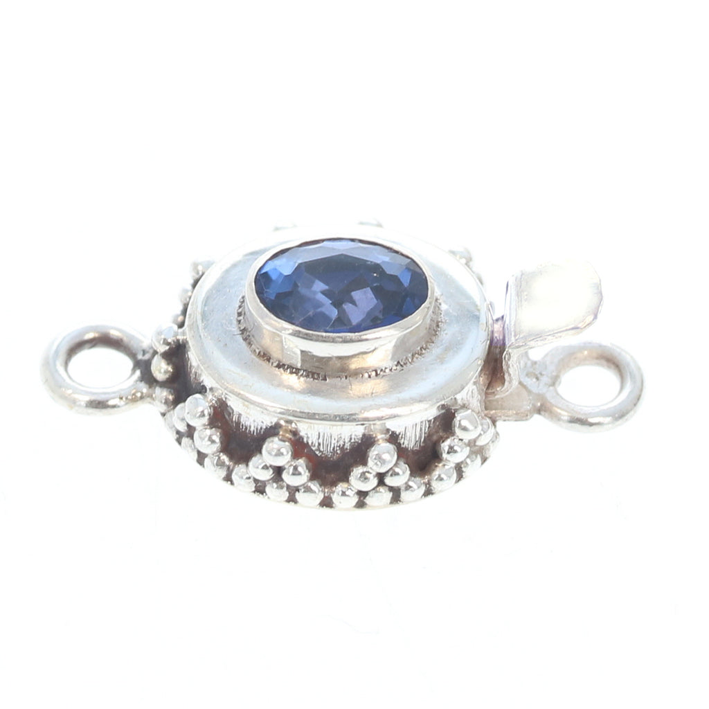 Blue Topaz Faceted Sterling Clasp 6x8mm Midnight Blue