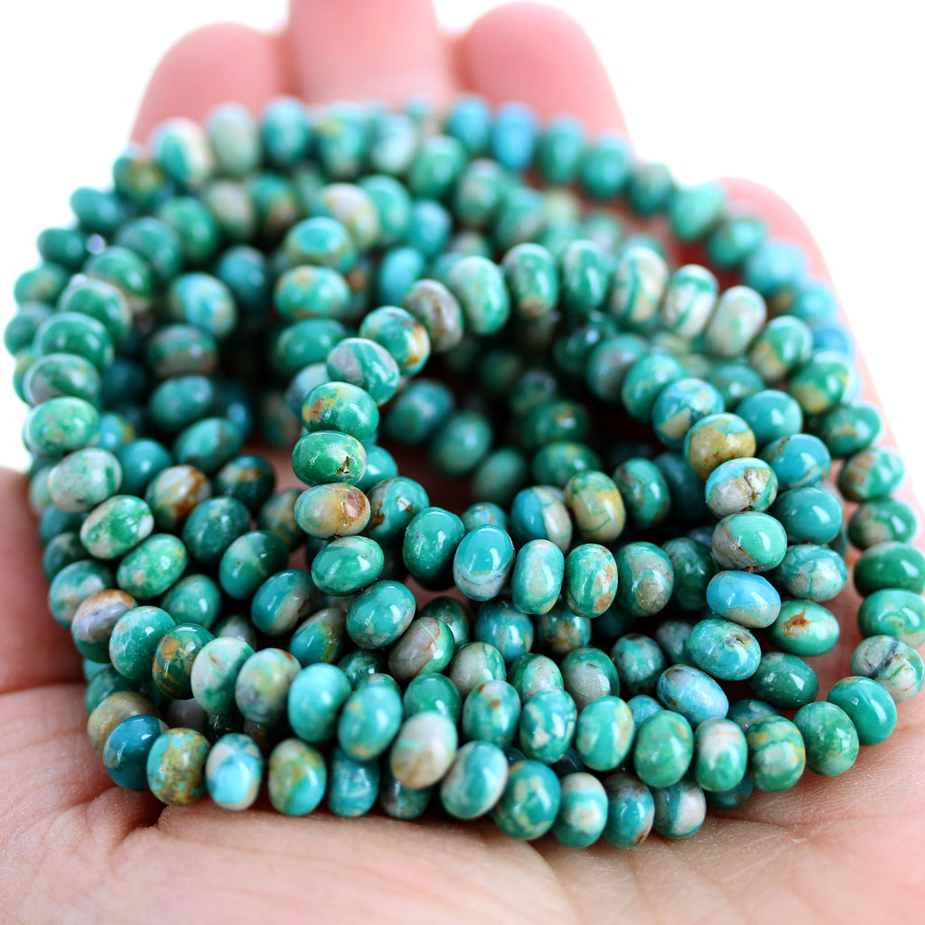 FOX TURQUOISE BEADS 6mm Emerald Green Rondelle 18""