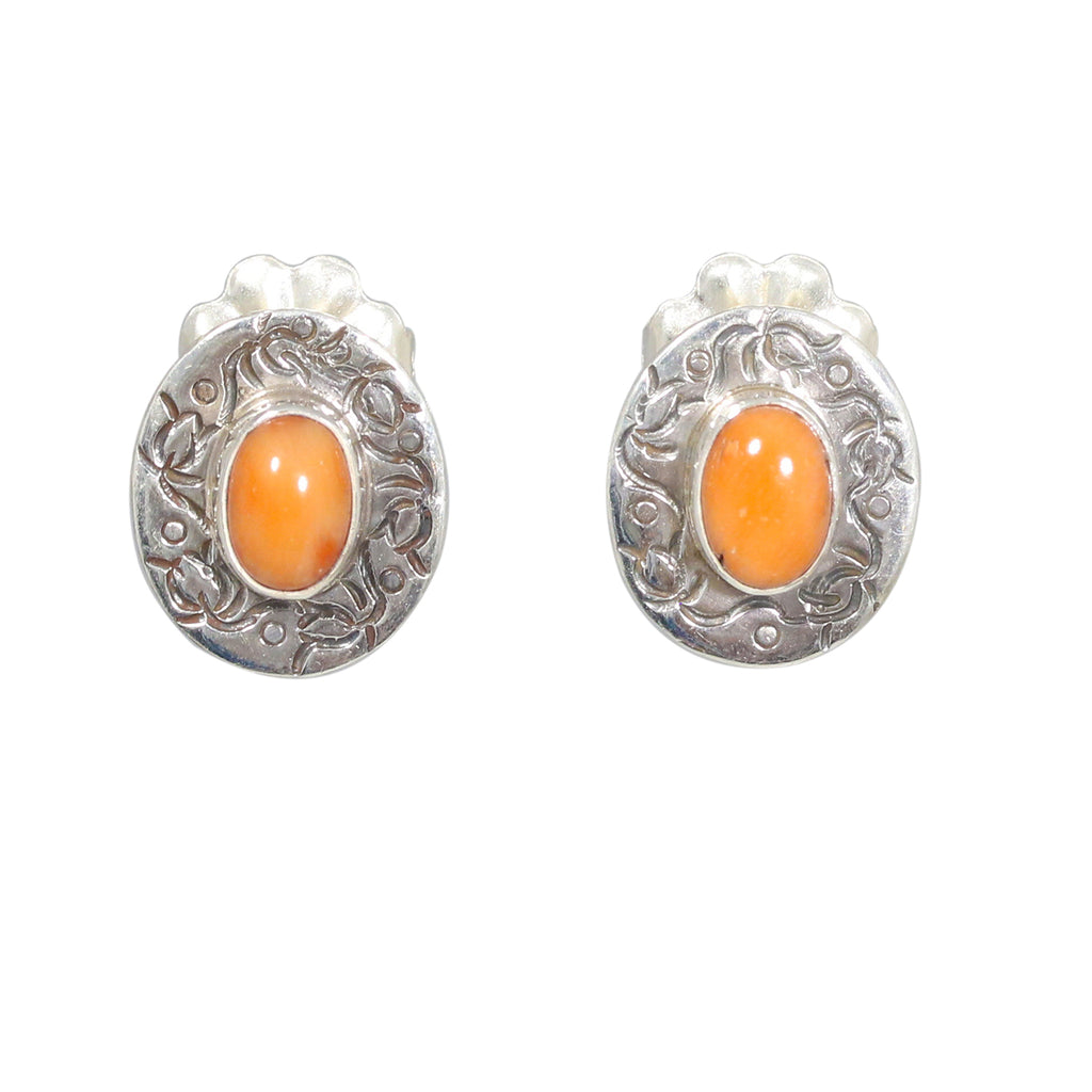 ITALIAN Salmon CORAL EARRINGS Sterling Style Posts