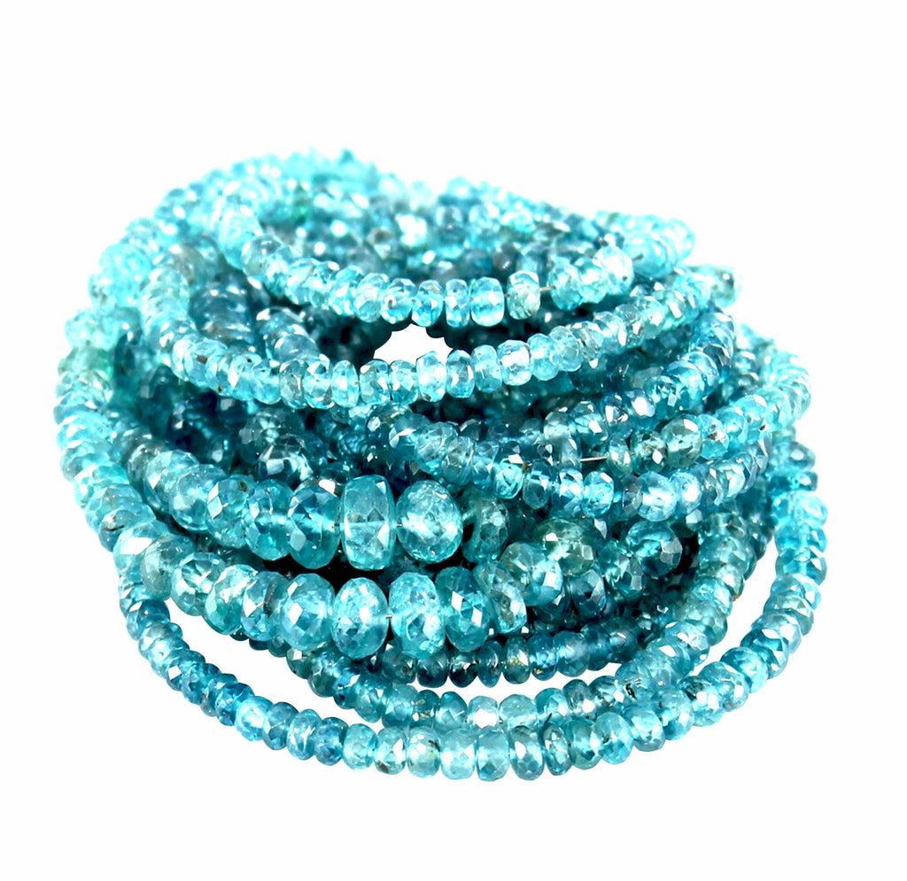 ZIRCON BEADS AAA Faceted Graduated Rondelles Blue