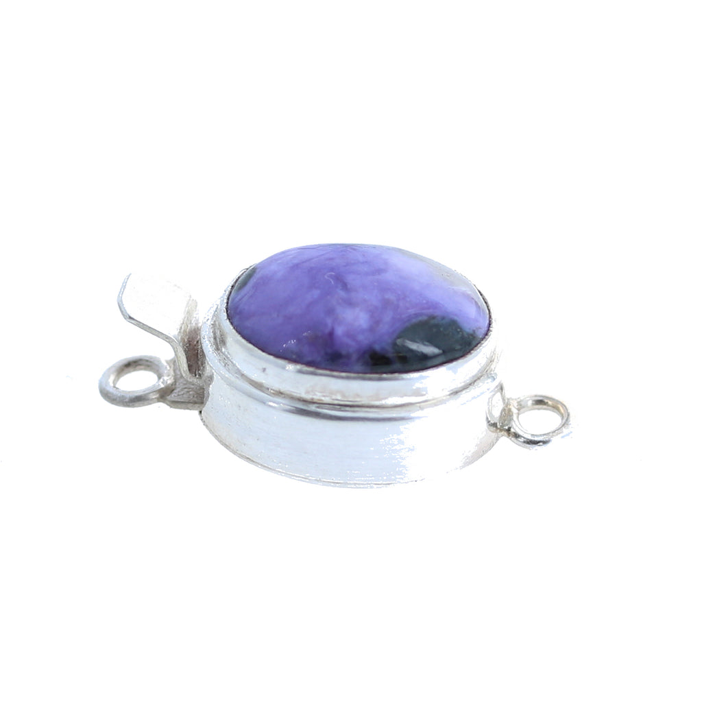 Charoite Clasp Sterling Oval 14.5x10mm
