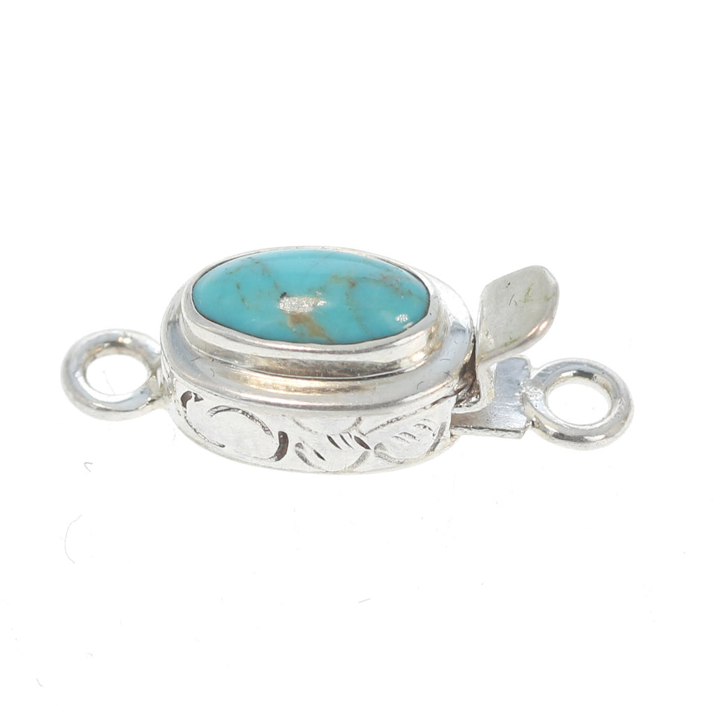 KINGMAN TURQUOISE CLASP Oval Etched 10x6mm