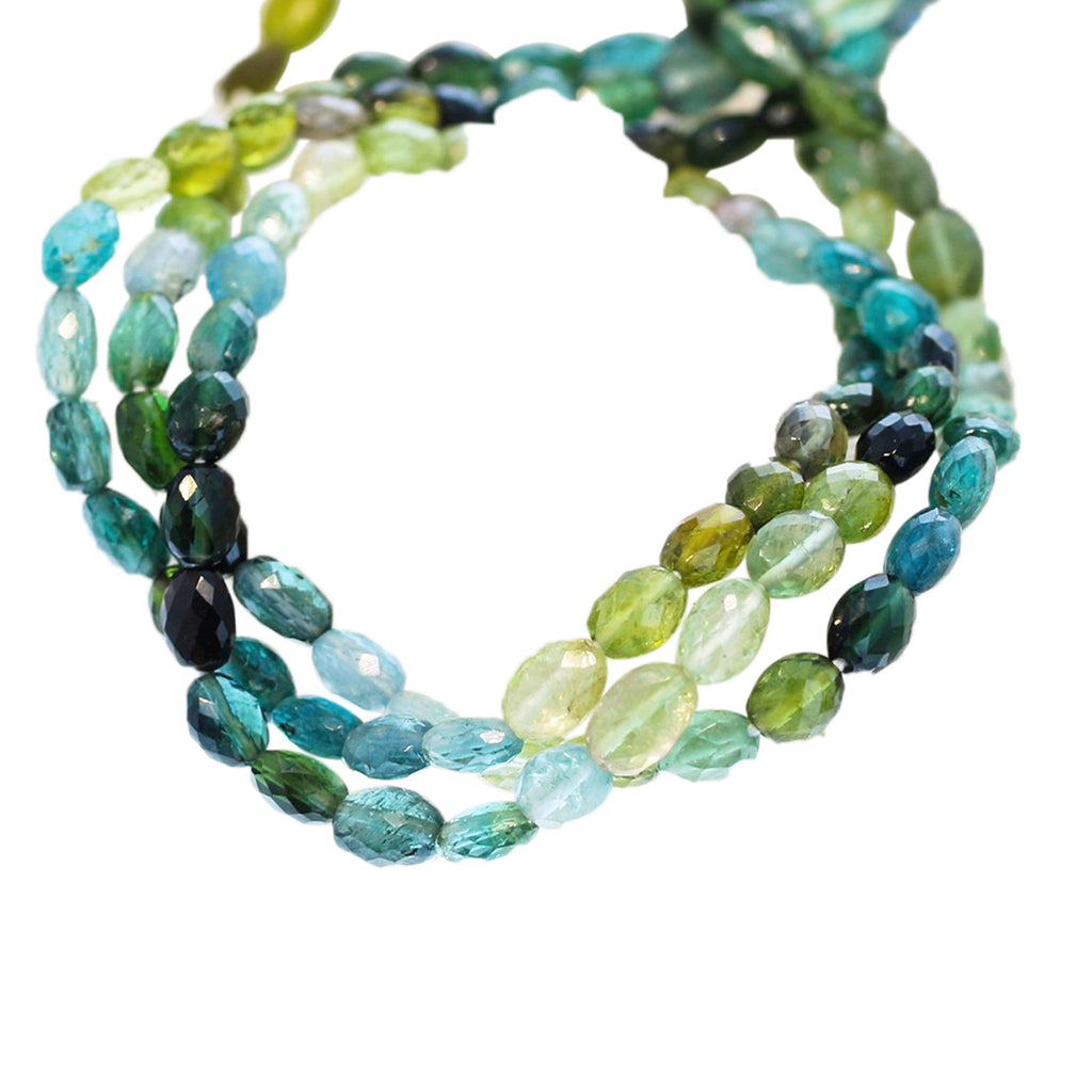 AAA Tourmaline Beads Blues and Greens Faceted Ovals #1