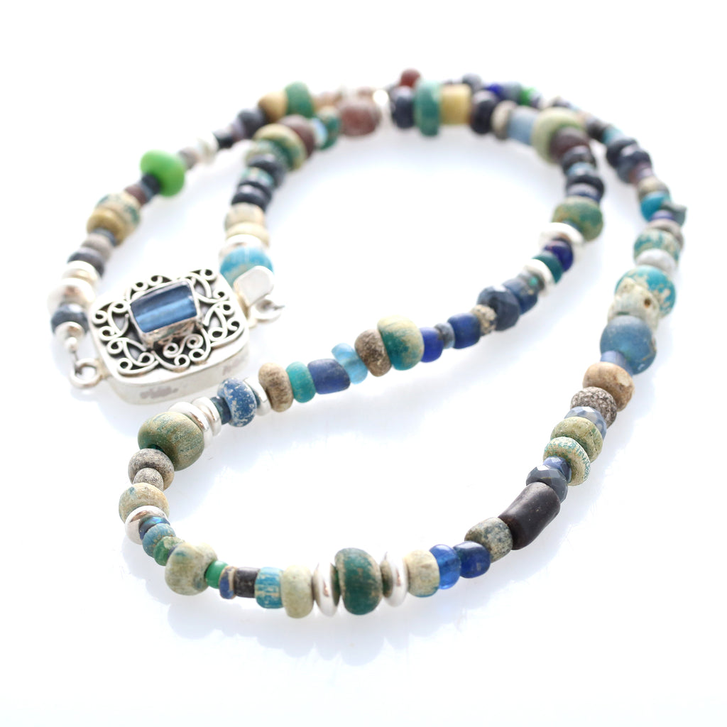 ANCIENT MALI Dig Beads Necklace Sterling and Black Opals