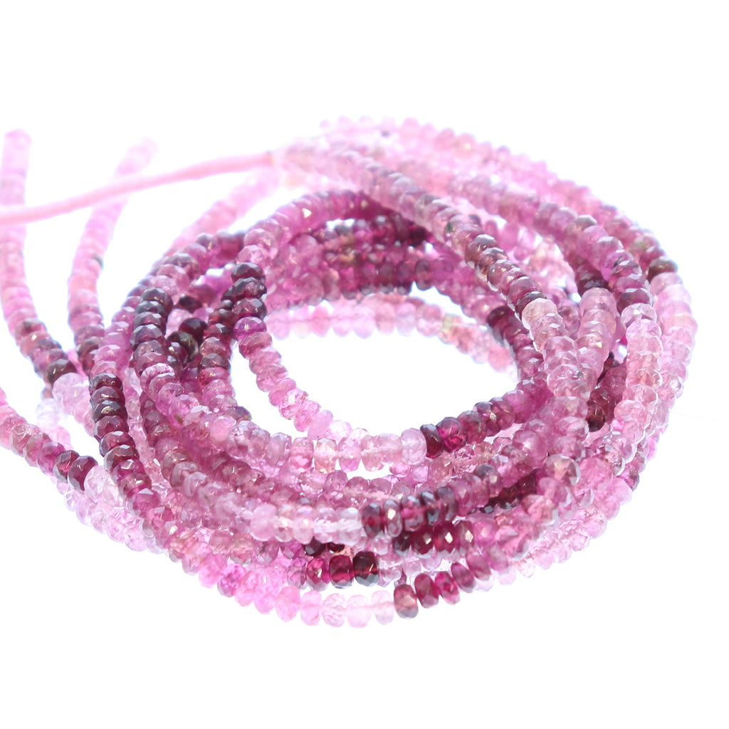 MAGENTA TOURMALINE FACETED Beads 4mm Rondelles Shaded Colors