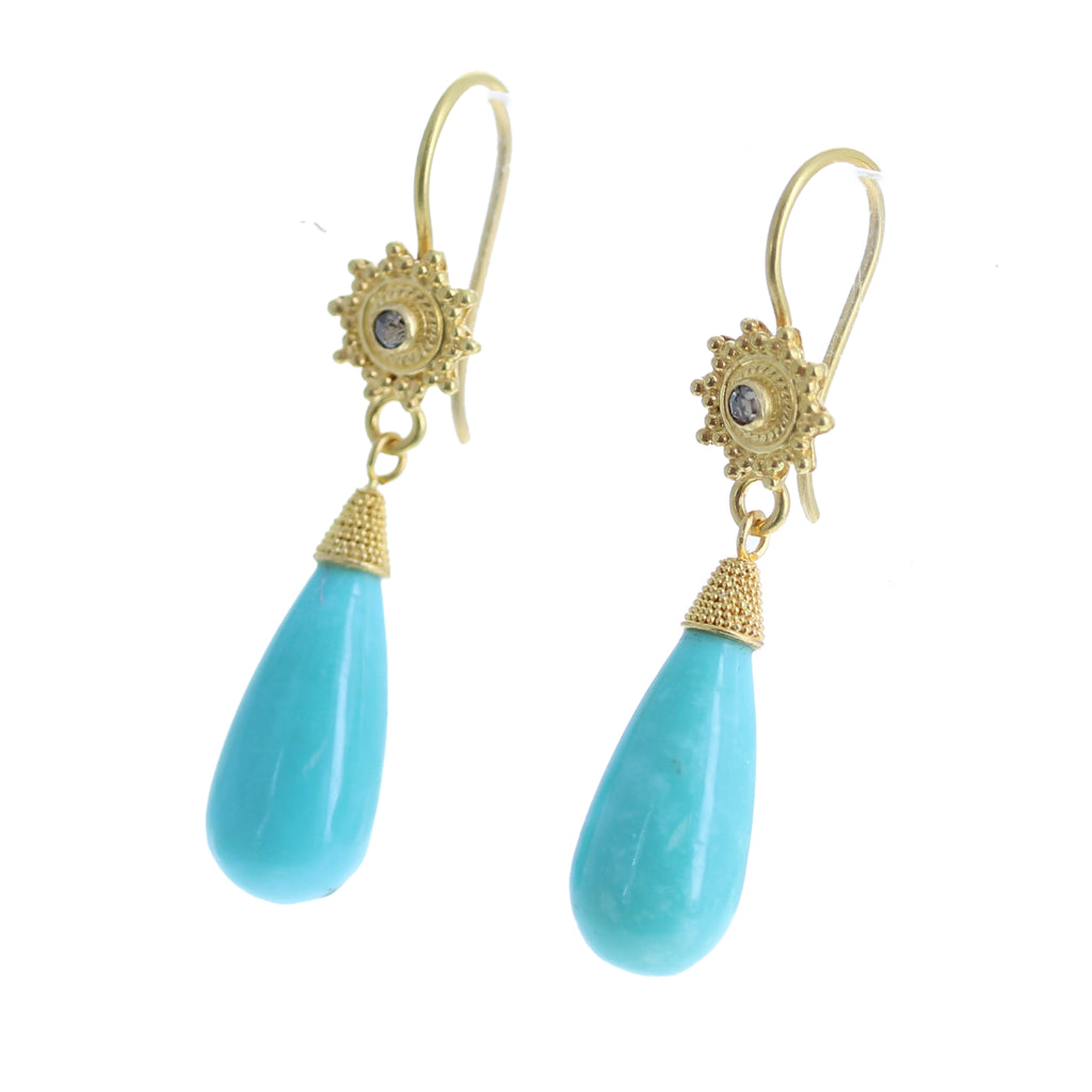 EXQUISITE GOLD DIAMOND and Turquoise Earrings 18k