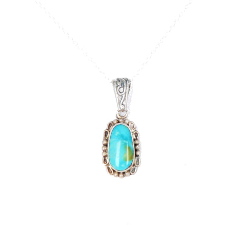 "KINGMAN TURQUOISE Pendant Sterling Silver 16"" Chain"
