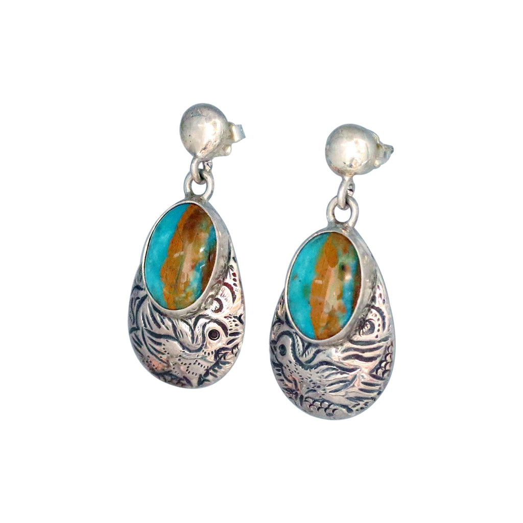 PERUVIAN OPAL STERLING EARRINGS Etched Teardrops