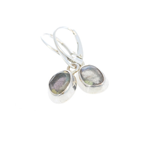 Moon Green LABRADORITE FACETED Earrings Sterling