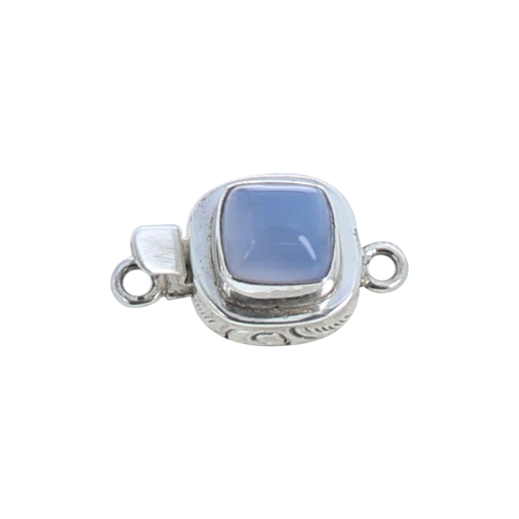 Chalcedony Clasp Cushion Shaped 10mm Sterling
