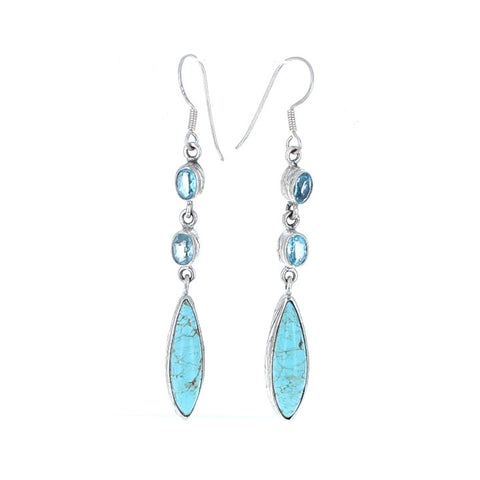 #8 MINE TURQUOISE EARRINGS with BLUE TOPAZ