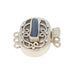 ANTIQUE ROMAN GLASS Sterling Silver Clasp 3 Strand Blue