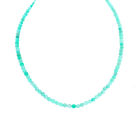 EMERALD Round Beads Necklace Sterling Silver