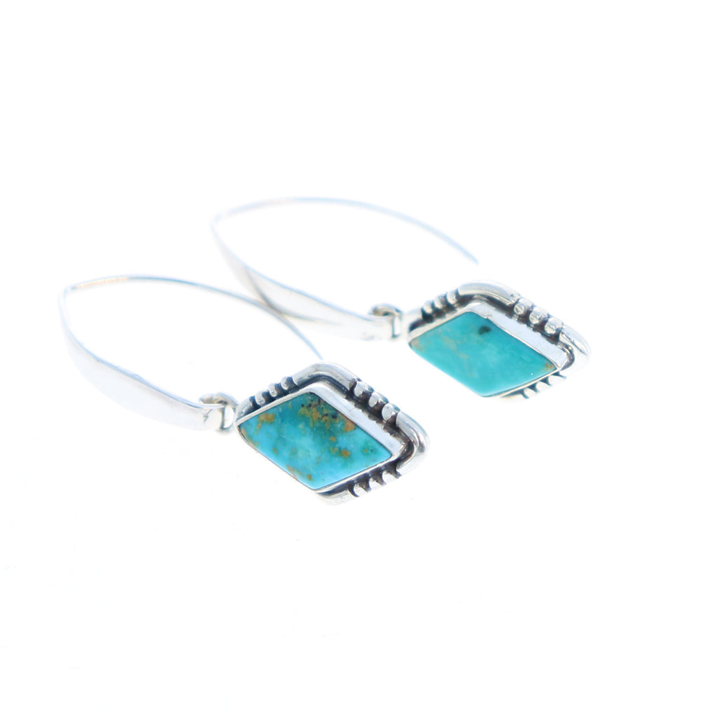 Fox Turquoise Earrings Sterling Silver Kite Shape Elongated