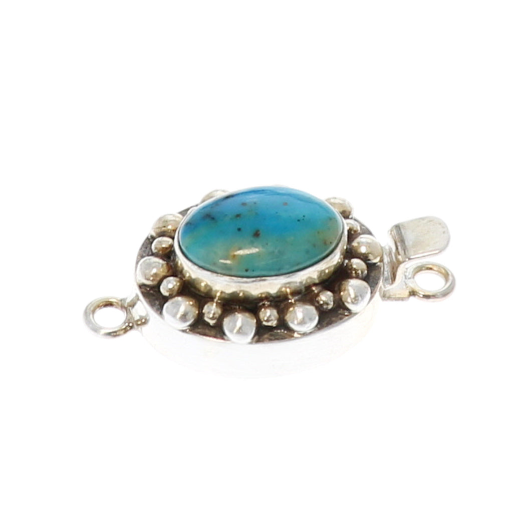 PERUVIAN OPAL CLASP Ball Design 15x11mm Sterling Ocean Blue