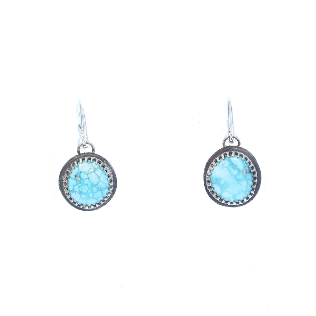 WHITE WATER {Mexican} TURQUOISE Earrings Decorative Setting Round
