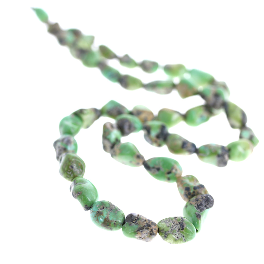 Verde Valley Mexican TURQUOISE BEADS Green Potato Shape 6-13x10mm