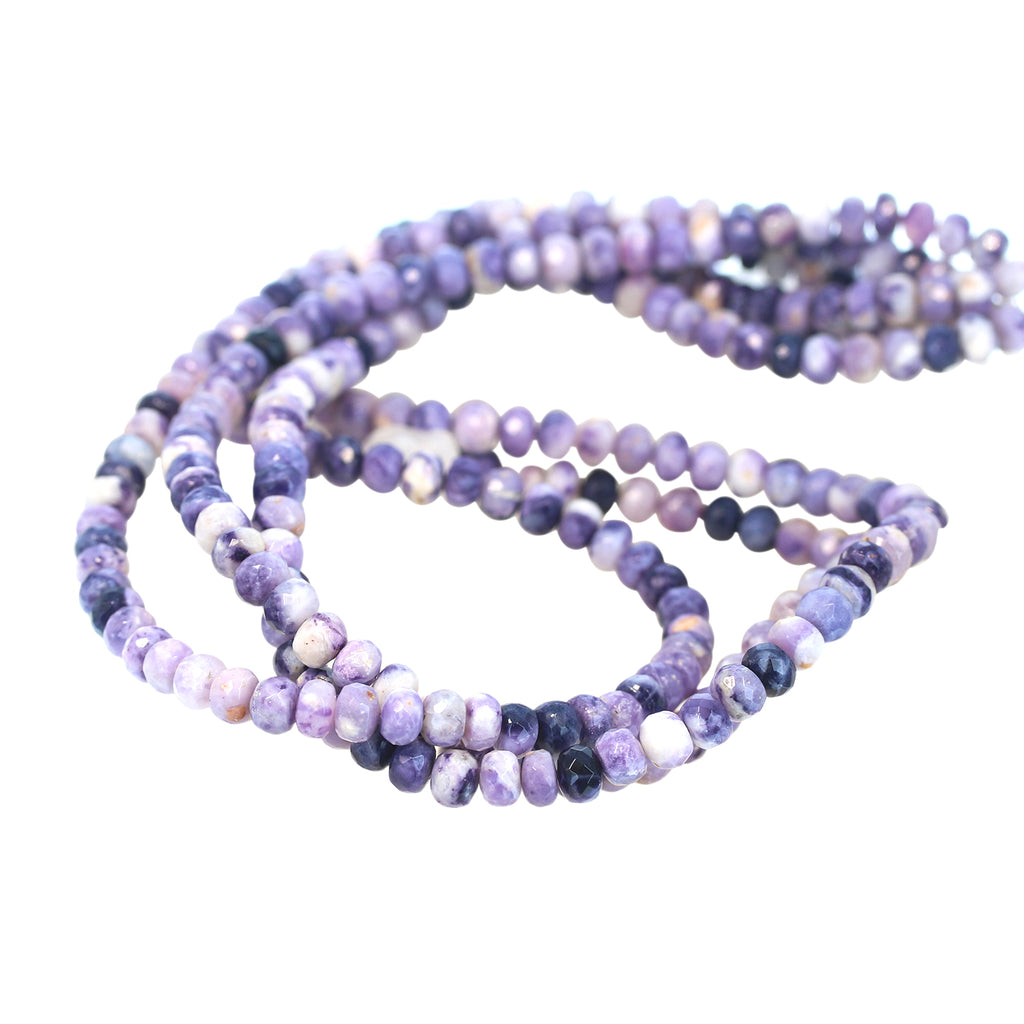 Mexican Opal Beads Rondelles Purple Faceted 6mm
