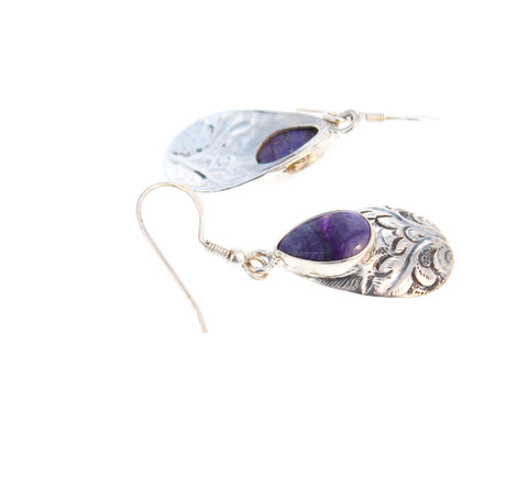 SUGILITE STERLING EARRINGS ETCHED TEARDROP