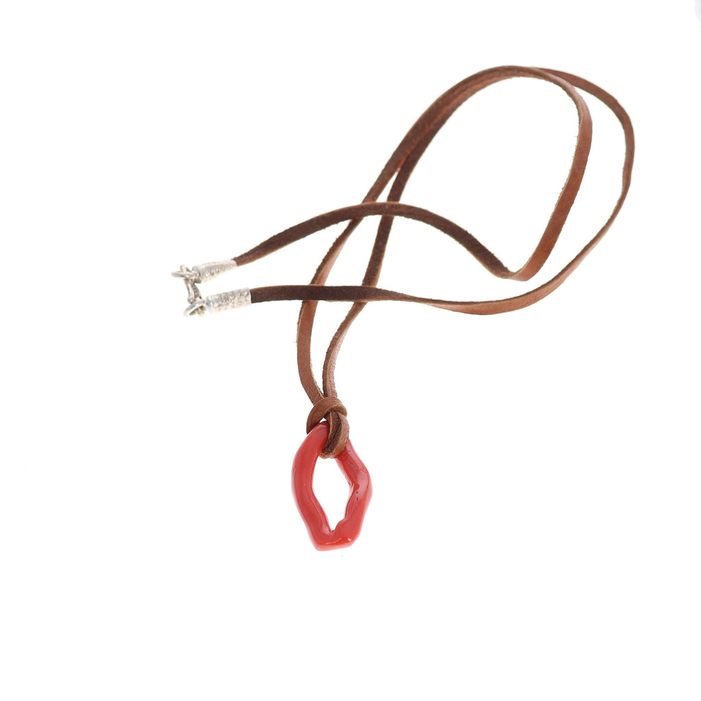 ITALIAN CORAL Pendant Necklace Sterling Dark Leather
