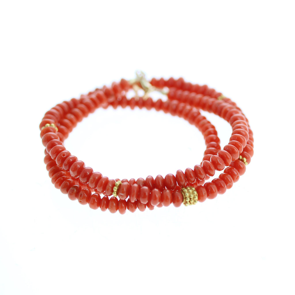 ITALIAN RED CORAL and 18k Gold Necklace