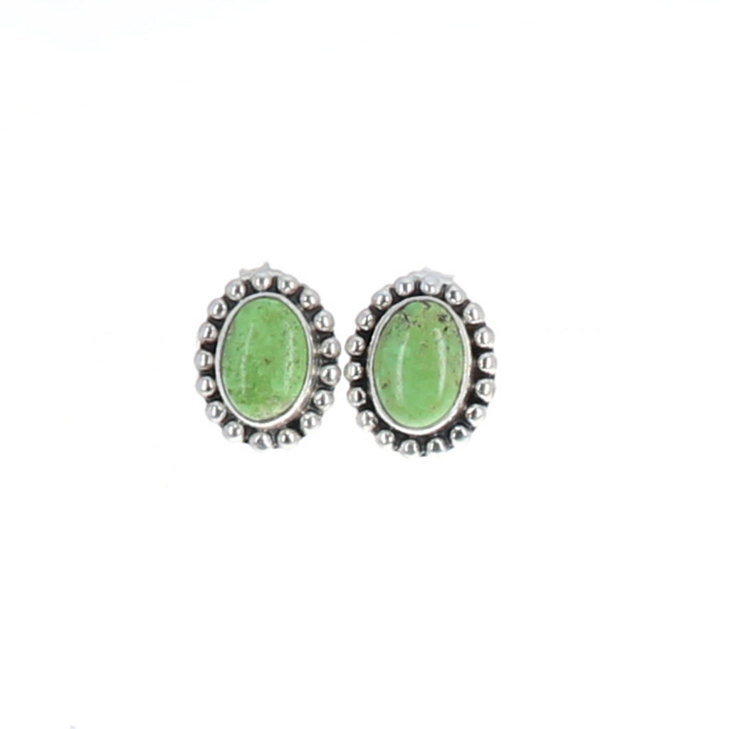 GASPEITE EARRINGS Sterling Oval Posts Studs Granulated Ball Design