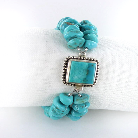 KINGMAN TURQUOISE NUGGET BRACELET STERLING SILVER 2 STRAND - New World Gems - 4