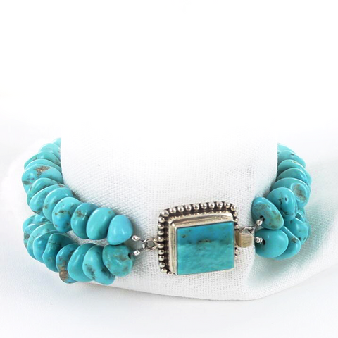 KINGMAN TURQUOISE NUGGET BRACELET STERLING SILVER 2 STRAND - New World Gems - 2