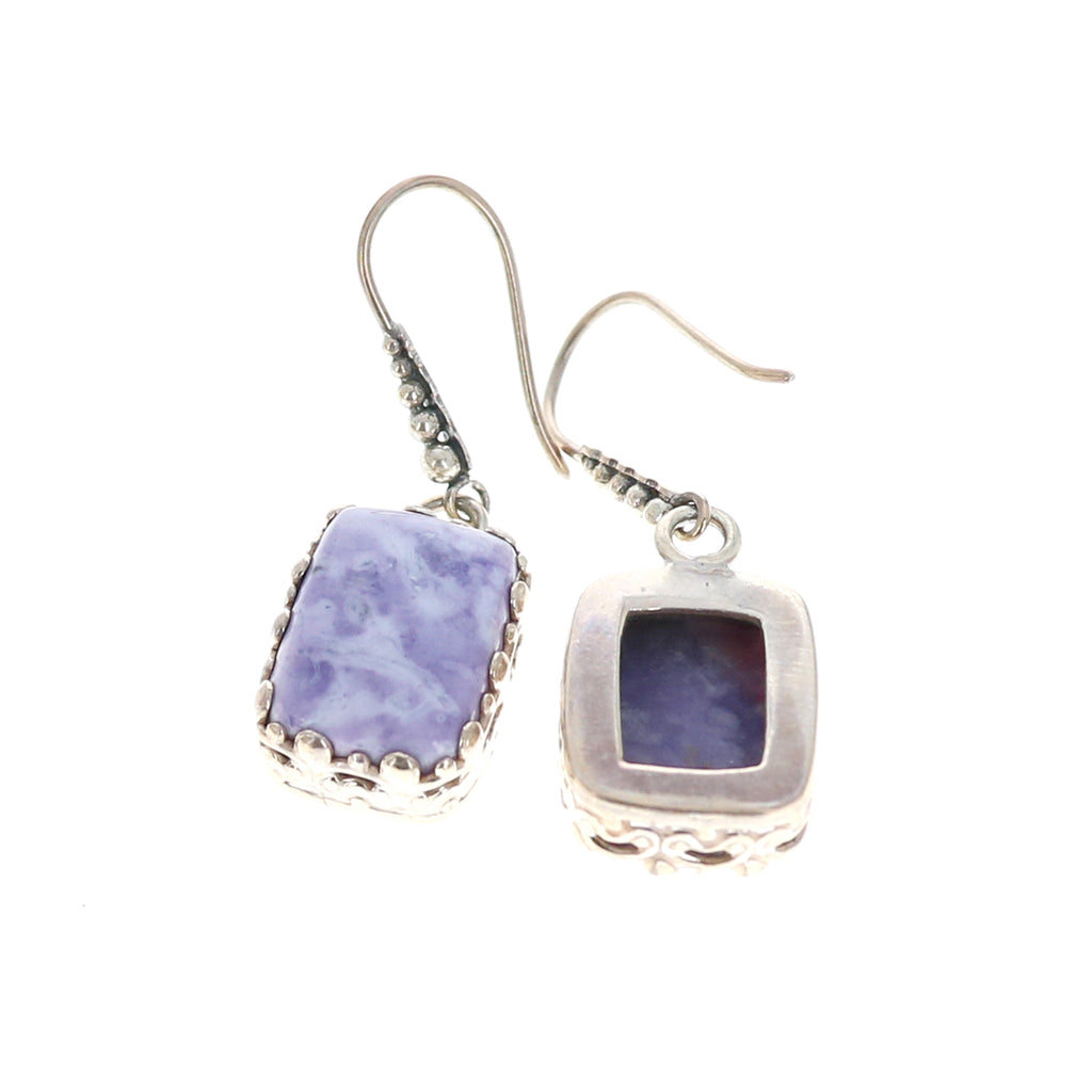 Lavender Mexican Opal Earrings Sterling Cushion Shaped Sterling
