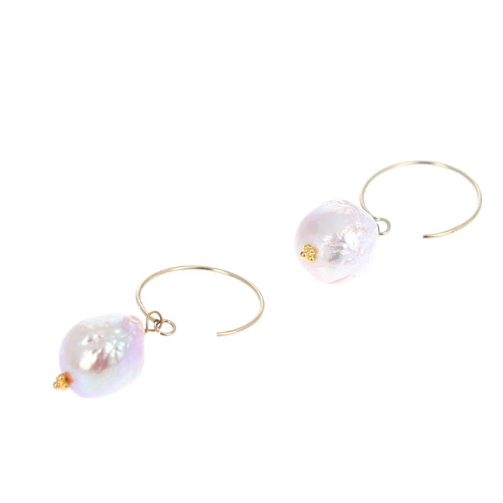 18K GOLD BAROQUE PEARL EARRINGS HOOP STYLE
